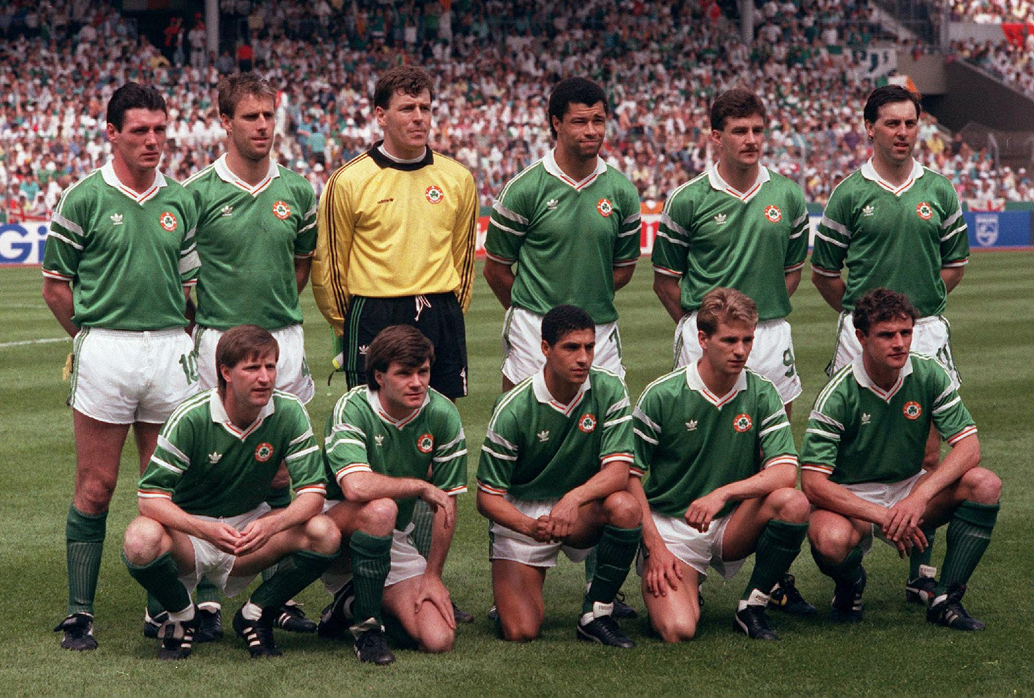 The Republic of Ireland soccer team competing in the 1988 UEFA European Championships