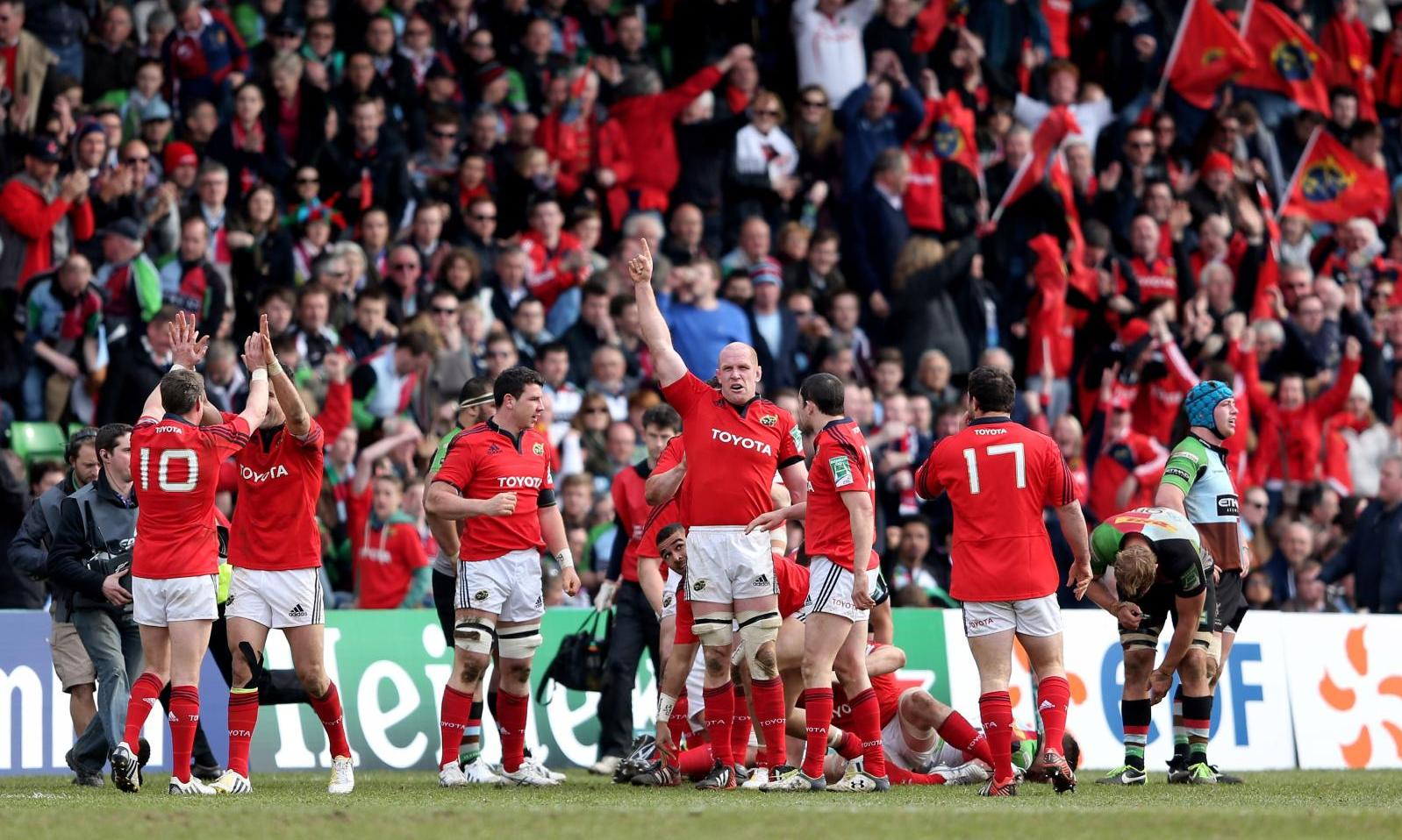 Munster Rugby captain Paul O'Connell celebrates following his teams victory over Harlequins in the 2013 Heineken Cup Quarter Final (courtesy of Getty Images)